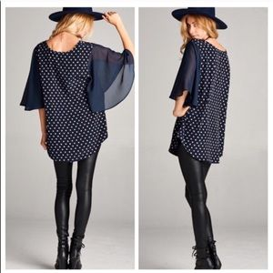 Navy Blue Blouse with Flared Elbow Length Sleeves